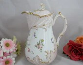 1890s Antique Vintage Hand Painted Martial Redon Limoges France Gilded Coffee Chocolate Tea Pot