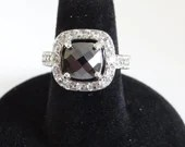 Black Faceted Square Rhinestone Ring on a Silver Tone Setting Size 6-1/4 a Modern Bling Ring