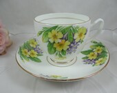 1940s Vintage Duchess English Bone China Yellow Pansy Teacup and Saucer So Colorful Tea Cup