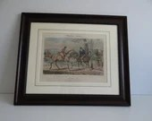 "Framed Large Listed Artist Henry Alken Original Lithograph Sporting Anecdotes "" Fox Hunting versus Politics"" - Plate 11 - Framed Alken Print"