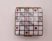 """Vintage Charmart Limoges France Hand Painted """"l Love You"""" Scrabble Trinket Box or Pill Box"""