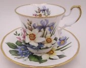 Colorful Vintage English Queen Anne Bone China Teacup and Saucer Set Fantastic English Tea Cup