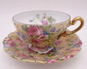 Vintage 1950s Pink Rose Chintz Demitasse Cappuccino Espresso Teacup and Saucer Set