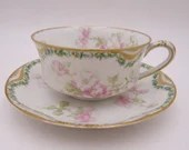1900s Haviland & Co Limoges France Teacup and Saucer Set Schleiger 66 - 8 Available French Tea Cup