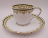 Vintage Latrille Old Abbey Limoges France Tea Cup Cappuccino Demitasse Espresso Teacup and Saucer Tea Cup