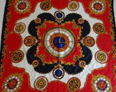 "Lovely Vintage Red Blue Gold and White Clock Face Scarf Approximately 35"" Square"