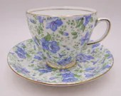 1930s Old Royal English Bone China Blue Floral Chintz Teacup and Saucer Charming Tea Cup 3027