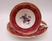 1950s Spectacular Paragon Fine English Bone China Red and Gold Violets Teacup and Saucer Beautiful Tea Cup A1980