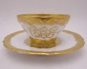 Antique 1890s William Lycett Atlanta GA. White and Gold Gilt Teacup and Saucer Set
