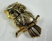 Silver and Gold Tone Winking Owl Brooch Pin - Graduate Owl on a Branch - Antiqued Gold Owl Brooch Pin