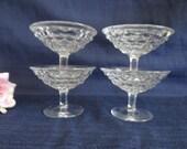 Set of 4 Vintage Cubist Clear Glass Sherbet Dessert Tasting Dishes
