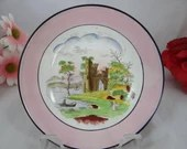 Early 1800s Hand Painted Japanese Soft Paste Porcelain Castle Pattern trinket ring dish - Charming