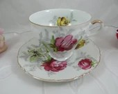 Vintage 1950s Norcrest Yellow and Purple Rose Teacup and Saucer Set Lovely Tea Cup
