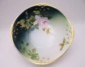 Vintage Hand Painted and Artist Signed 1900s Hermann Ohme Porzellanfabrik Silesia Serving Bowl