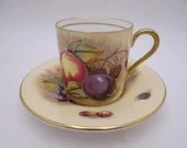 """Vintage Aynsley English Bone China Teacup """"Orchard Gold' Cappuccino Demitasse English Teacup and Saucer - Delightful Tea Cup - 6 Available"""