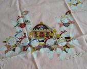 Vintage Happy Buddha Peach Scarf - Happy Buddha Scarf - Peach Scarf - Peachy Pink Scarf - Vintage Scarf