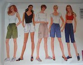 Vintage Butterick #6597 Sewing Pattern - Sizes 12 14 16  - Misses Bermuda Knee Length Shorts Short Sleeve and Sleeveless Tops Summer Pattern