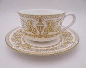 """Vintage Royal Worcester English Bone China """"Hyde Park"""" Tea Cup and Saucer Set Gold English Teacup - 13 Available"""