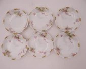 c1900 Set of 6 Vintage Theodore Haviland Limoges France Teagarden and Schumate Austin Texas  Pink Spray Butter Pats