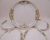 1900s Antique Vintage Hand Painted Nippon Cake Plate and Dessert Plate Set