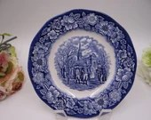 "Vintage Liberty Blue Historic Colonial Scenes Blue and White Salad Plate ""Washington Leaving Christchurch"" - 10 Available"
