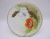 "1920s Vintage Factory Decorated Hand Painted Signed ""Laroche"" PT Bavaria Tirschenreuth Poppy Plate"