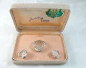 "Stunning Crown Trifari Alfred Philippe Designed ""Moonshell"" Fur Clip Brooch and Clip Earrings in Original Box a Wonderful Book Piece"