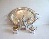"""Vintage Oneida Du Maurier Five Piece Silverplate Tea Set with 24"""" Park Lane Silverplate Tray a Classic and Elegant Silverplate Tea Set"""