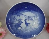 1980 Bing and Grondahl B G Christmas Collector Plate Christmas in the Woods