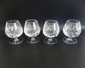 "Set of 4 Vintage Gorham ""Cherrywood Clear"" Crystal Brandy Snifter - Elegant Barware - Classic Barware Brandy Glass"