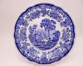"""Vintage Spode Jane Seymour Collection Blue and White Dinner Plate """"St. Catherine's Court"""""""