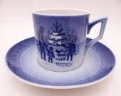 "Royal Copenhagen 1979 Christmas Demitasse Espresso Cappuccino Cup and Saucer Set ""Choosing the Christmas Tree"" Christmas Teacup"