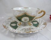 Stunning 1950s Japanese Lusterware Footed Moriage Lattice Reticulated Teacup and Saucer Set Outstanding Tea Cup