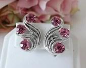 Vintage Silver Swirl and Pink Rhinestone Clip Earrings Pretty Pink Earrings - Party Ready