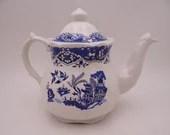Vintage Blue and White Willow Price Kensington Potteries Teapot