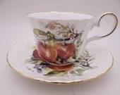 Vintage 1950s Regency English Bone China Teacup Apples Teacup and Saucer Set lovely English Tea Cup