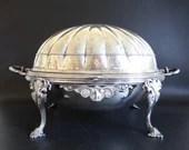 Antique Thomas Bradbury & Sons Silverplate Buffet Bun Warmer Chafing Dish with Rotating Dome Lid an Elegant Serving and Dining Piece
