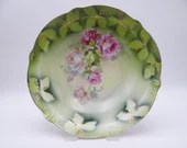 1900s Unger & Schilde Three Crown China Germany  Green Fruit or Serving Bowl