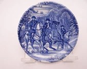 "Vintage Liberty Blue Historic Colonial Scenes Blue and White Coaster ""Horseman"" -  3 available"