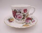 1930s Vintage English Crown Staffordshire Roses Teacup and Saucer Set Pretty Tea Cup