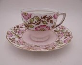 Vintage Hand Painted Rosina English Bone China Pink Wild Rose Flower Demitasse Cappuccino Teacup and Saucer Set Espresso Tea Cup 4986