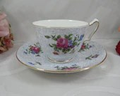 1900s Vintage Crown Staffordshire English Bone China Pink Rose Chintz Teacup and Saucer Set Pretty Tea Cup