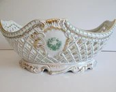 """Very Large Centerpiece Near Mint Vintage Hand Painted Butterfly Herend Hungary """"Chinese Bouquet"""" Green Large Open Weave Basket"""