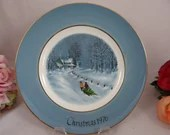 1976 Wedgwood Avon Christmas Plate Series titled Bringing Home The Tree with Original Box