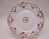 Vintage Factory Decorated Tressemannes and Vogt T & V Limoges France Pink Spray Set of 2 Salad or Lunch Plates 4290