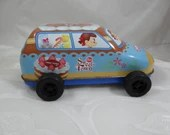 Very Rare Vintage Japanese Peko & Poko Sweets Town Tin Car  Great Advertising