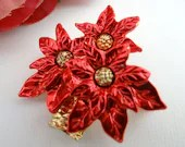 Vintage Christmas Red Poinsettia Brooch Pin a Lovely Holiday Accessory and a Classic and Elegant Pin Brooch