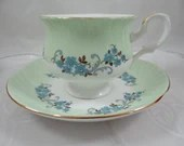 1950s Vintage English Bone China Staffordshire Green Teacup and Saucer Set English Tea Cup