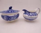 Vintage English Bone China Enoch Woods English Scenery Creamer and Sugar Bowl Set