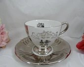 Vintage Royal Winton English Bone China Silver Wedding Teacup Anniversary Gift English Teacup